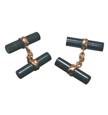 Bloodstone Cylinder Double Deluxe Cufflinks-Gold Plated Silver
