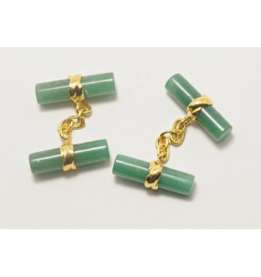 Aventurine Cylindrical Double Deluxe gold plated sterling silver Cufflinks