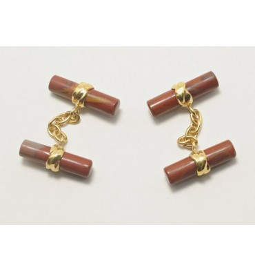 Red Jasper Gold Plated Sterling Silver Cylindrical Double Deluxe Cufflinks