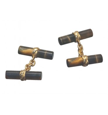 Tiger's Eye Cylindrical Imperial Double Gold Plated Sterling silver Cufflinks