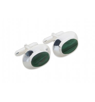 Malachite Framed Oval Swivel Cufflinks-Sterling Silver
