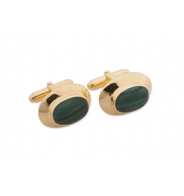 Malachite Framed Oval Swivel Cufflinks-Gold Plated Silver