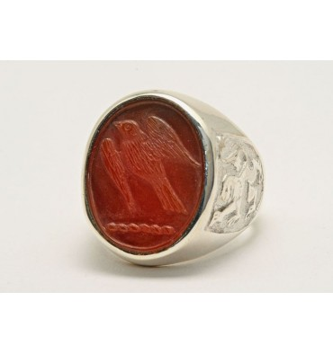 Carnelian Engraved Hawk Family Crest Sterling Silver Ring