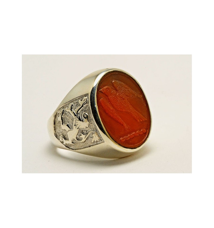 carnelian engraved hawk family crest sterling silver ring. Black Bedroom Furniture Sets. Home Design Ideas