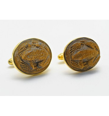 Tiger's Eye Frog Cuff Links - Gold Plated Sterling Silver