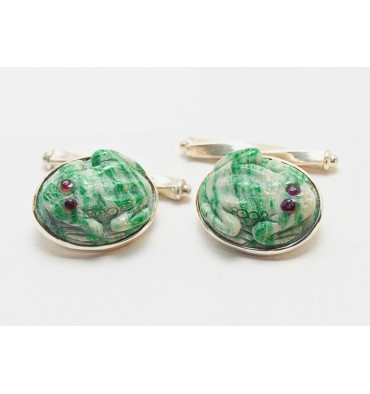 Stripey Jade Ruby Eyed Frog Cuff Links - Sterling Silver