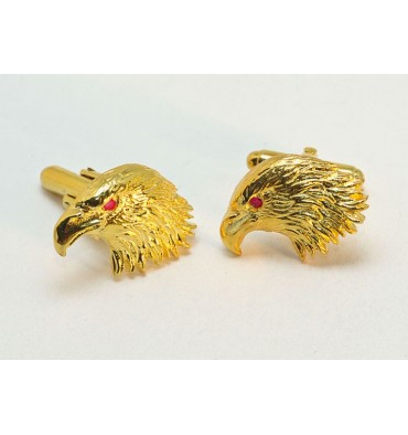 Gold Plated Silver Ruby Eyed Eagle Cuff Links