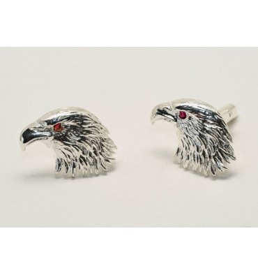 Sterling Silver Ruby Eyed Eagle Cuff Links
