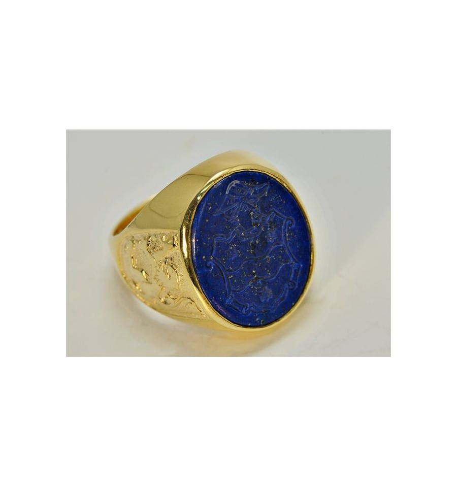 A Lapis Family Crest Signet Ring