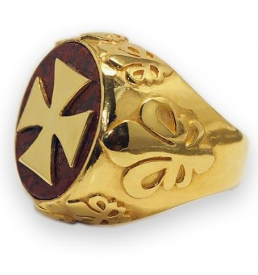 Red Jasper Templar Cross & Fleur De Lys Gold Plated Sterling Silver Ring