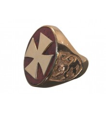 Red Jasper Large Templar Cross & Lion Of Scotland Gold Plated Sterling Silver Ring