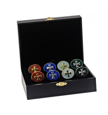 Gift Case of 4 sets of Templar Cross Swivel Cufflinks