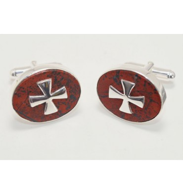 Red Jasper Templar Sterling Silver Cufflinks