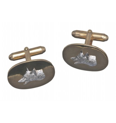 Solid Silver Oval Fox Cuff Links - Silver on Gold Plated Silver