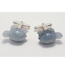 Gray Jade Turtle Cufflinks on Sterling Silver Swivels
