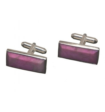 Rhodonite Antibes Sterling Silver Rectangular Swivel Cufflinks
