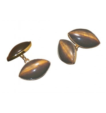 Tiger's Eye Double Lozenge Cufflinks-Gold Plated Silver