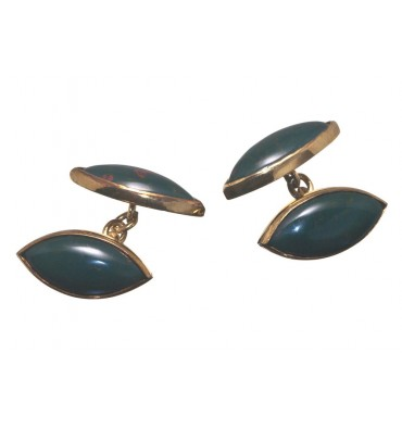 Bloodstone Double Lozenge Cufflinks-Gold Plated Silver