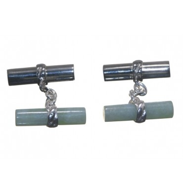 Light Green Jade and Silver Mixed Double Cufflinks