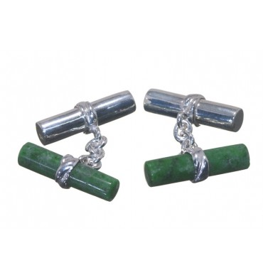 Jade Albite and Silver Mixed Double Cylinder Cufflinks