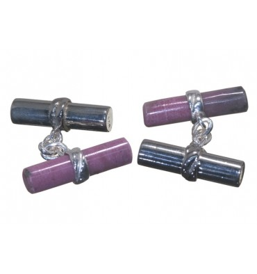 Rhodonite and Sterling Silver Mixed Double Cylinder Cufflinks