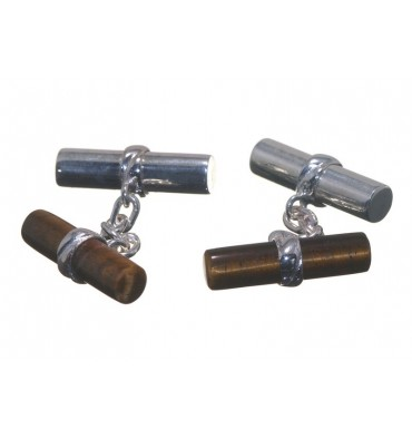 Tiger's Eye and Silver Mixed Double Cylinder Cufflinks