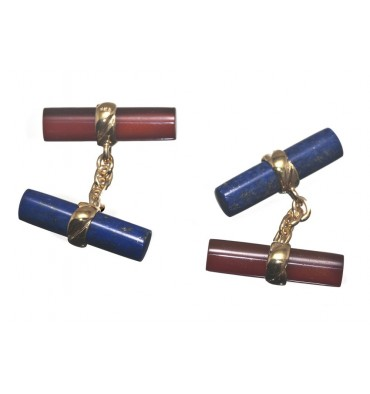 Lapis Red Agate Double Gold Plated Silver Cufflinks