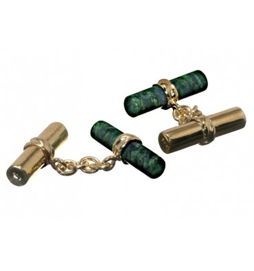 Jade Albite and Gold Mixed Double Cylinder Cuff Links