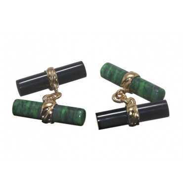 Jade Albite and Black Onyx Gold Plated sterling Silver Mixed Double Cylinder Cufflinks