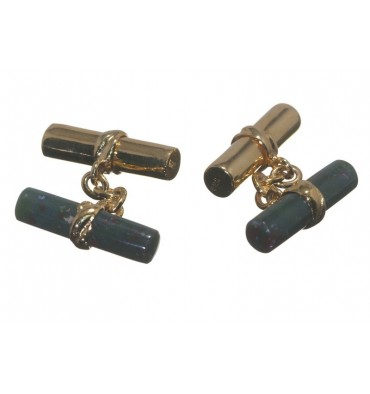 Bloodstone and Gold Mixed Double Cylinder Cufflinks