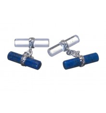 Lapis and Rock Crystal Mixed Double Cylinder Cufflinks Silver