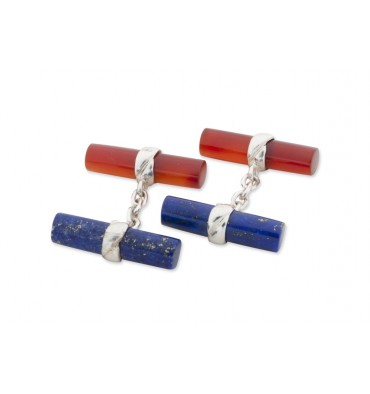 Lapis and Red Agate Mixed Double Cylinder Cufflinks Silver