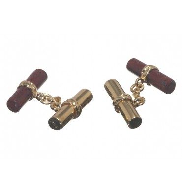 Red Jasper and Gold Plated Silver Double Cufflinks