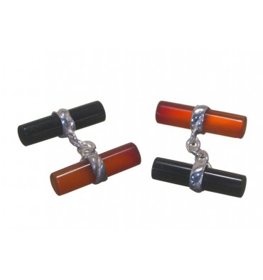 Red Agate and Black Onyx Mixed Double Cylinder Cufflinks Silver