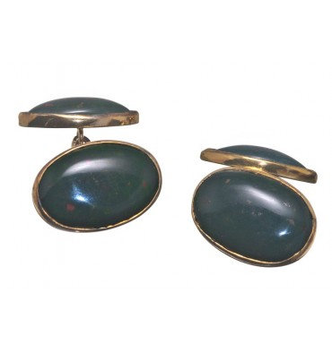 Bloodstone Medium Double Oval Cufflinks Gold plated Silver