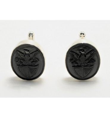 Black Onyx Sterling Silver George Washington Cufflinks