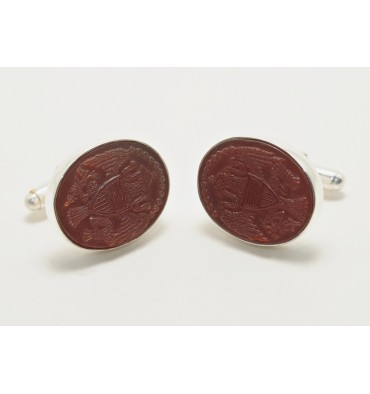 Red Agate Sterling Silver George Washington Cufflinks