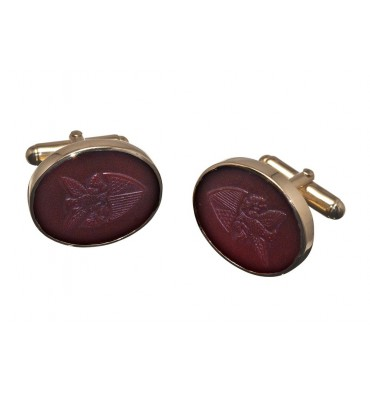 Red Agate Gold Plated Sterling Silver George Washington Cufflinks