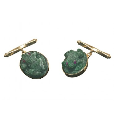Jade Albite Ruby Eyed Frog Chain & Shank Cufflinks-Gold Plated