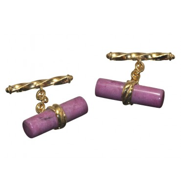 Rhodonite Grandee Chain & Shaft Cufflinks Gold plated Silver