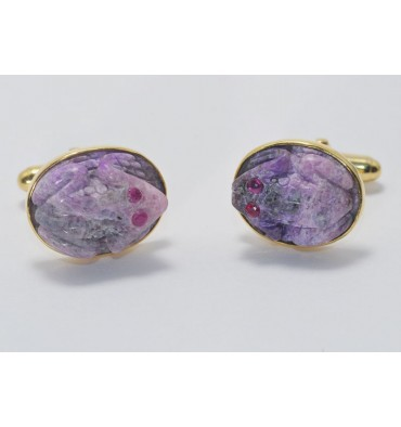 Sugilite Frog Swivel Cufflinks-Gold Plated Sterling Silver