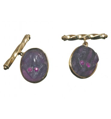 Amethyst Ruby Eyed Frog Cufflinks- Gold Plated Sterling Silver