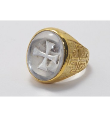 Rock Crystal Templar Cross Gold Plated Silver Ring