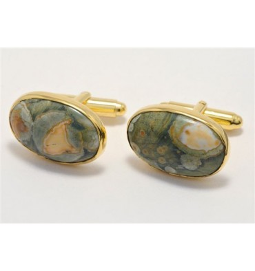 Spherolite Rhiolite Oval Swivel Cufflinks- Gold Plated
