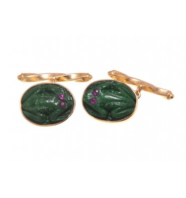 Jade Ruby Eyed Frog Chain & Shank Gold plated sterling silver Cufflinks