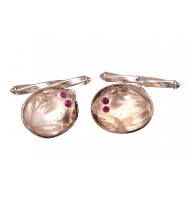 Rock Crystal Frog Cufflinks With Ruby Eyes-Sterling Silver