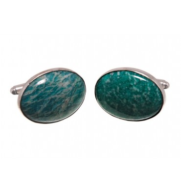Amazonite Large Swivel Cufflinks - Sterling silver