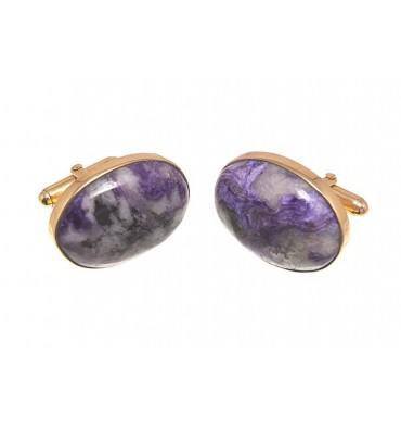Charoite Cufflinks - Gold plated silver Swivels