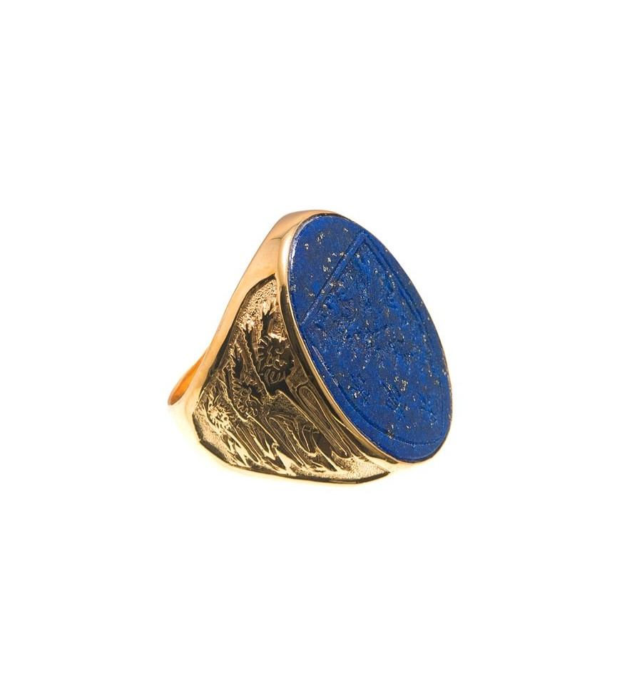 A Large Lapis Heraldic Seal Ring With A Shield And The