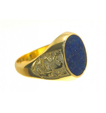 Lapis lazuli Lion of Scotland Gold Plated Sterling Silver Ring